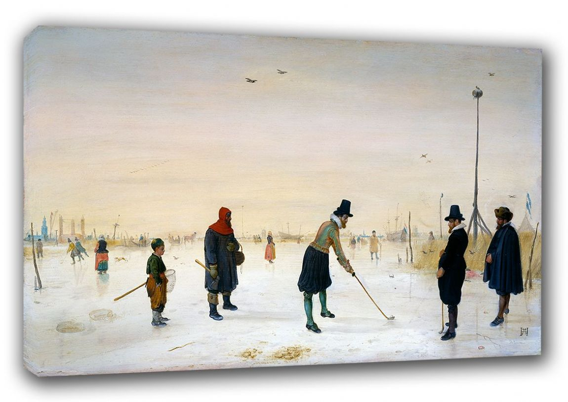 Avercamp, Hendrick: Kolf Players On the Ice. Winter Landscape Fine Art Canvas. Sizes: A3/A2/A1 (00433)